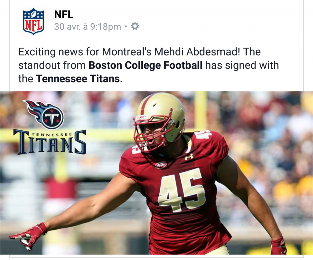 Mehdi Abdesmad - NFL Tweet
